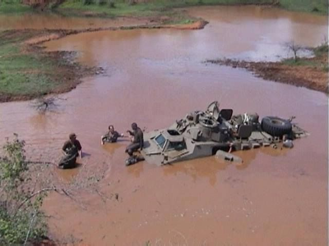Hard times for SADF Ratel-20, during the South African Border War.
