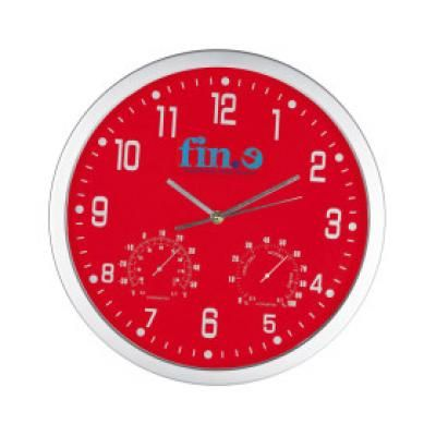 Image of Promotional Crisma Wall Clock in Red. Printed Wall Clock.
