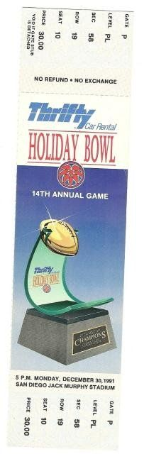 1991 Holiday Bowl Full Ticket Iowa BYU....if you like this you can find many more college bowl game tickets for sale at www.everythingcollectibles.biz