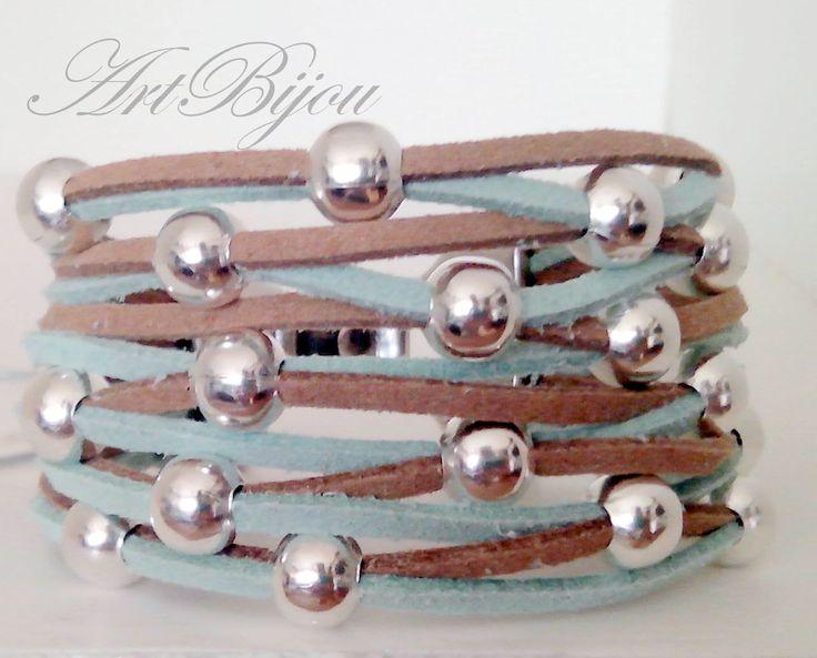 Leather Bracelet, Suede Bracelet, Zamak Bracelet, Modern Bracelet, Green Bracelet, Brown Bracelet, Silver, Gift Her, Women Gift, Gift Idea by ArtBijouStore on Etsy https://www.etsy.com/listing/215371677/leather-bracelet-suede-bracelet-zamak