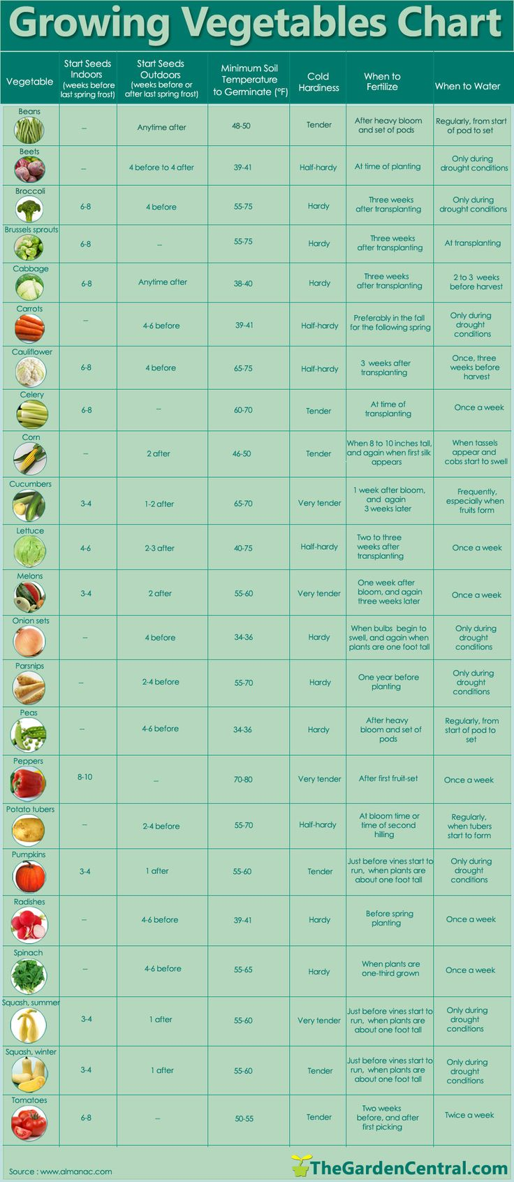 Here's a great chart from www.thegardencentral.com that'll give you a few tips for planting and growing your very own healthy vegetables. This is a great resource as knowing how and when to plant your crops is a crucial part of reaping a good harvest.