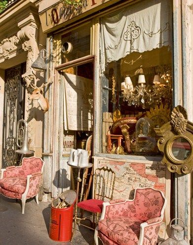 a brocante in Paris-L'Objet Qui Parle: Stores Front, Pink Chairs, Vintage Shops, Storefront, Fleas Marketing Finding, Place, Paris Fleas Marketing, French Antiques, Antiques Shops