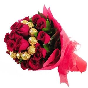 Ferrero Rocher Bouquet 12 Pcs. encircled with 24 Red Roses