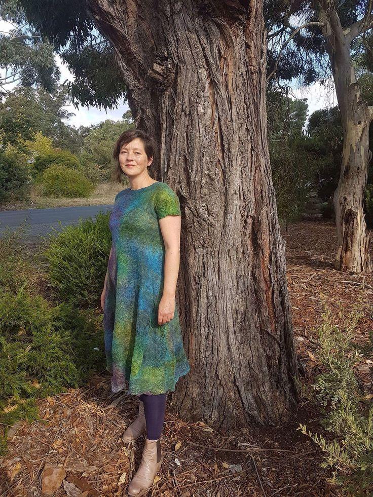I Nuno felt tunic dress by VonFelt. Wool and silk fabric.  Wool from Woolgatherings, fabric by treetops Harmonics. Photos by Ky von Burg