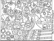 RUG HOOK PAPER PATTERN Polka Dot Church ABSTRACT FOLK ART PRIMITIVE