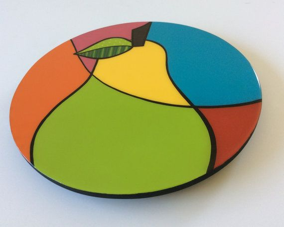 Lazy Susan handmade  painted wood modern fruits by FucsiaDesigns, $85.00