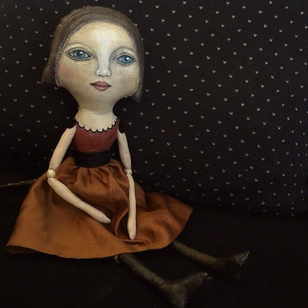 """""""May"""" painted and stitched #artdoll #vintagestyledoll #clothdoll #painteddoll"""