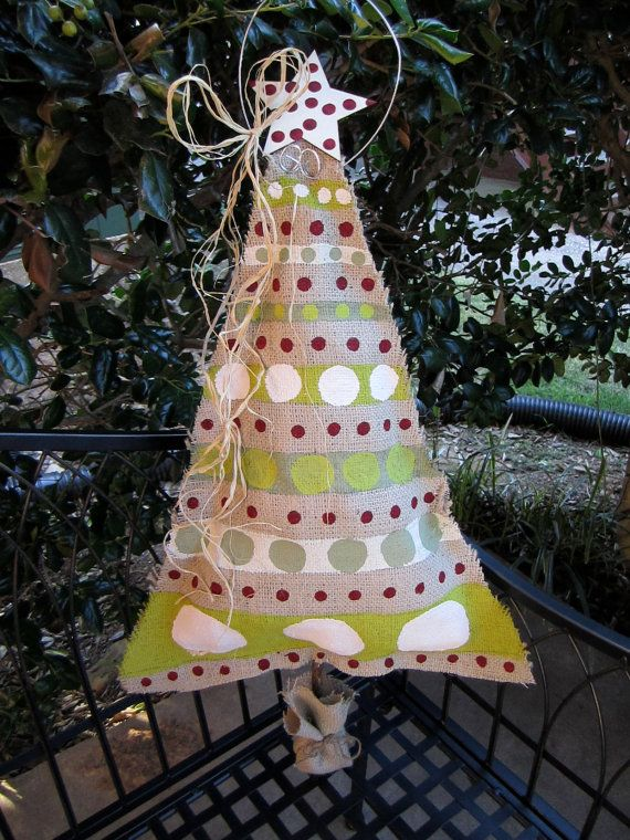 Burlap Christmas Tree Burlap Door Hanger by nursejeanneg on Etsy, $28.00