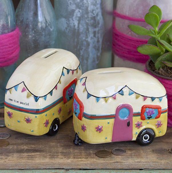 Natural Life Ceramic Camper Bank