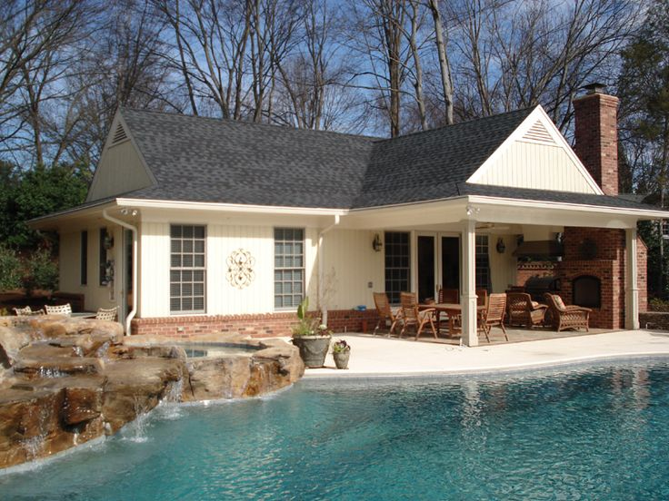 Outdoor pool patios new pool and pool house complete Pool house guest house plans