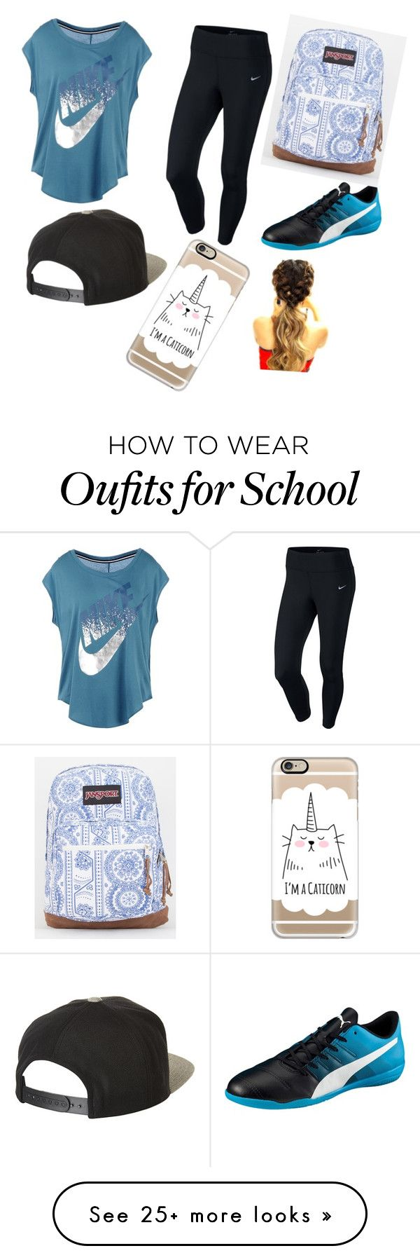 """School outfit"" by vicky1245 on Polyvore featuring NIKE, Puma, Brixton, JanSport and Casetify"