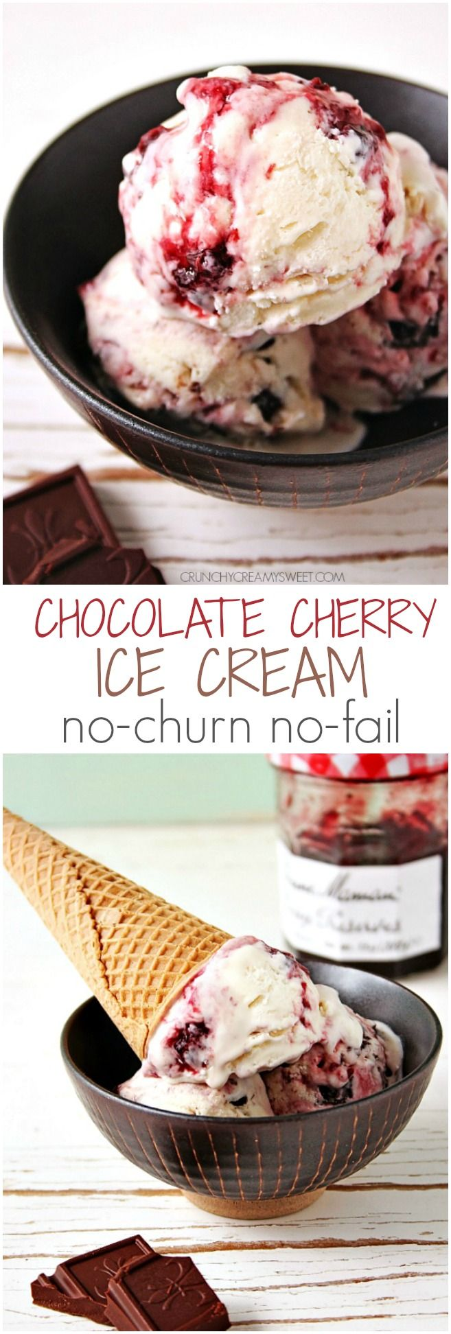 Chocolate Cherry Ice Cream – no-churn homemade ice cream recipe with a 2-ingredient vanilla base, cherry preserves swirl and dark chocolate chunks!