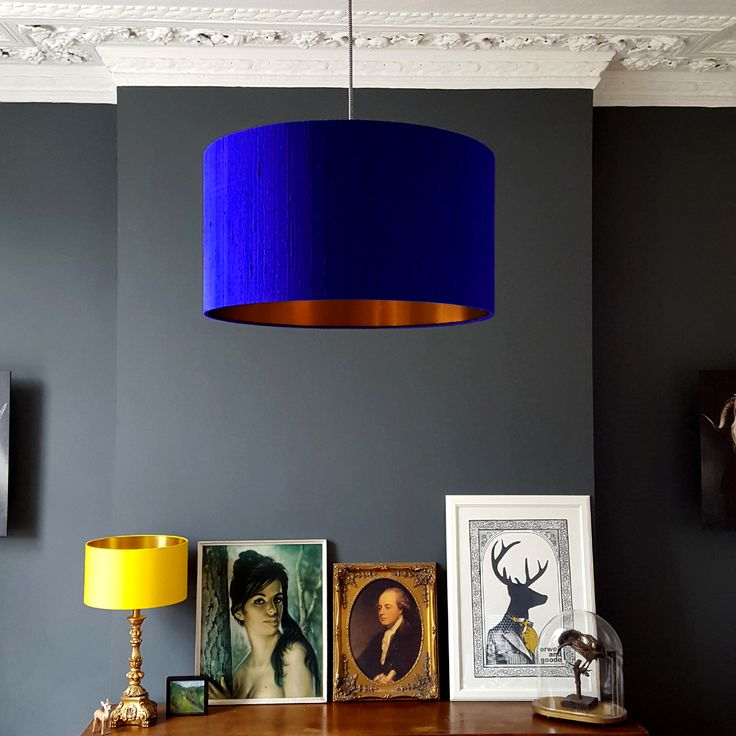 Indian silk dupion lampshade in electric blue with a brushed copper lining