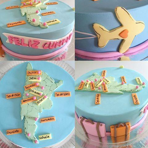 Facu le regaló a su novia esta torta para su cumple, con todos los lugares que recorrieron juntos!!! 🙌🎂🙌💖✈️💼💕 #mix #travelcake #viajar #viajes #argentina #chile #mapa #avion #valijas #love #birthdaycake #cumpleaños #cakedesign #fondant