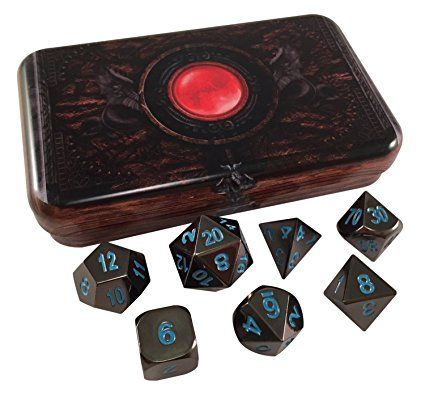 Skull Splitter Dice- Warlock Tome- Icy Doom (black and blue)- Solid Metal Polyhedral Role Playing Game (RPG) Dice Set (7 Die in Pack) with Box