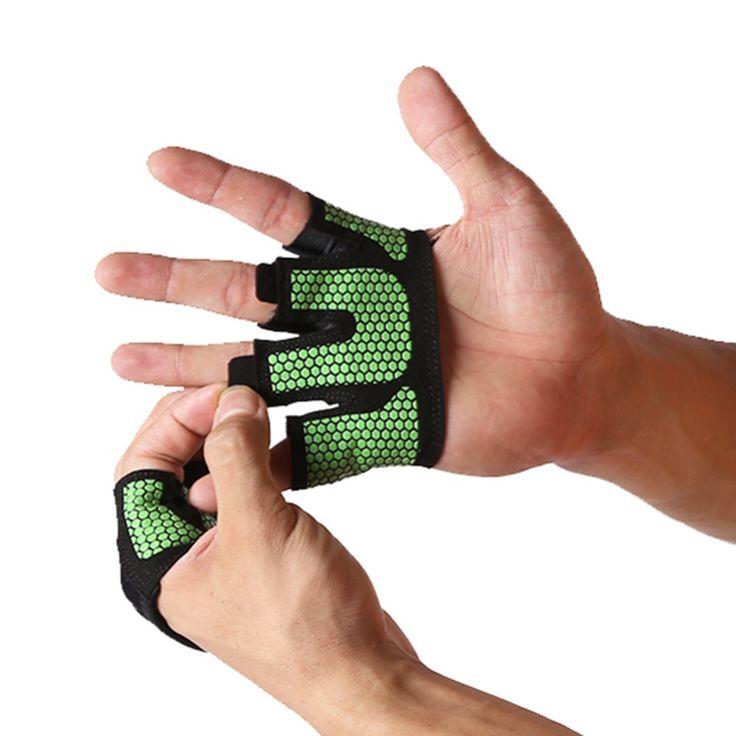 Angkat besi Sarung Tangan bernapas anti-selip Grippers Half Finger Angkat Berat Crossfit Gym Kebugaran Barbell Palm Protector