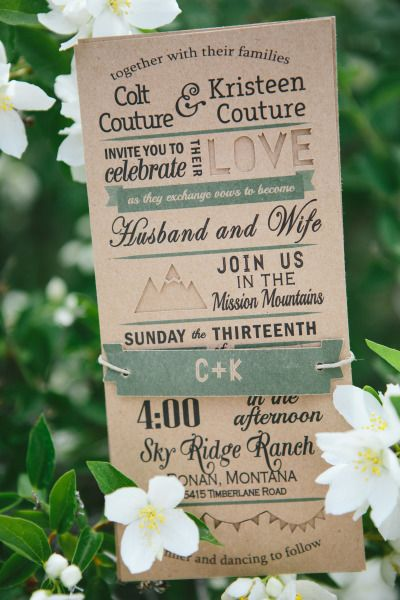 Mountain wedding invitations: http://www.stylemepretty.com/montana-weddings/ronan/2014/10/03/rustic-montana-ranch-wedding/ | Photography: Kristine Paulsen - http://kristinepaulsenphotography.com/