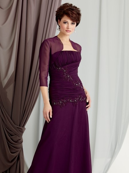 Eggplant Chiffon Mother Of The Bride Dresses With Jacket