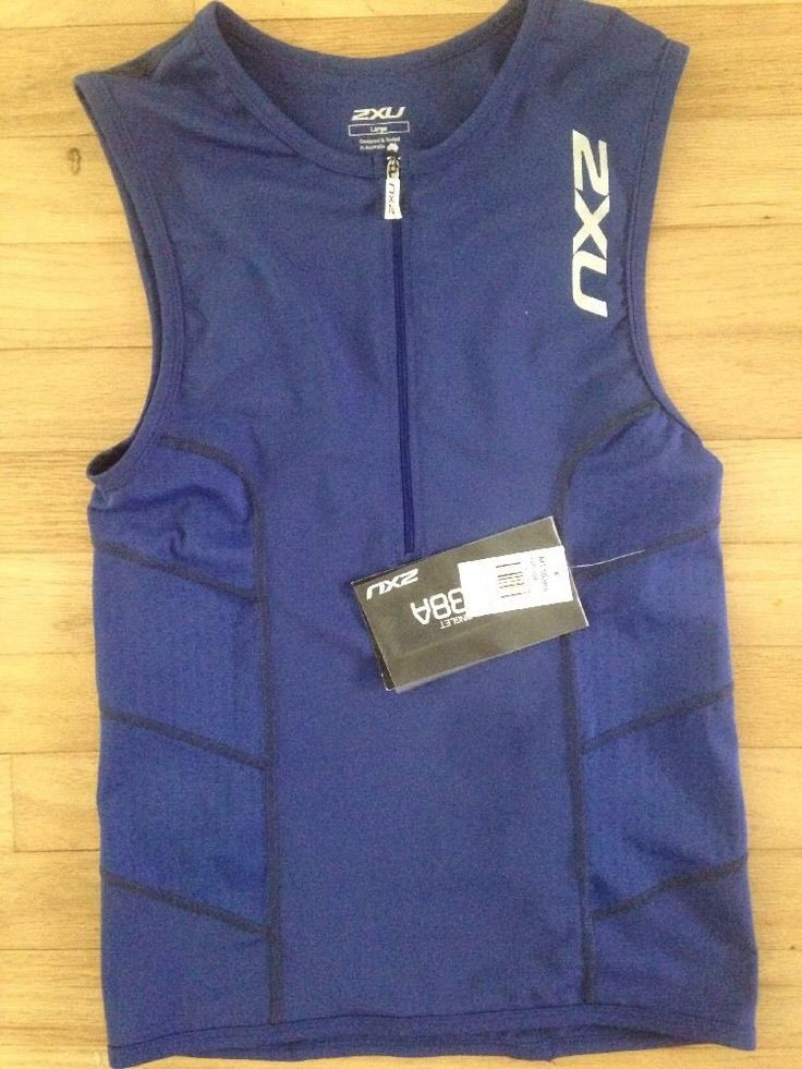 Nwt 2XU Lg Men's Performance Tri Singlet Royal Blue Triathlon Swimming lg  | eBay