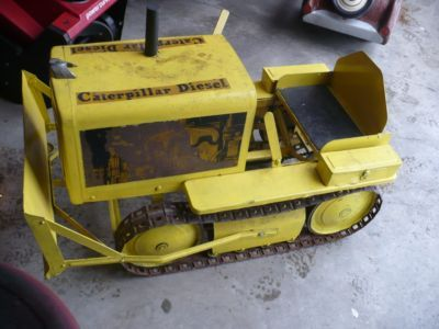 pedal car antique caterpillar bulldozer pedal car with original metal tracks unrestored vintage catvintage toyskids
