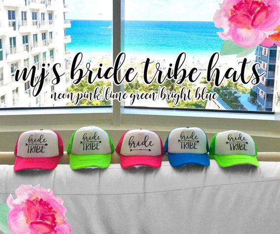 Welcome to MJsBridalSupport! PERSONALIZED BRIDE & BRIDESMAIDS GIFTS Each item is made to order with love and packed with care. WWW.ETSY.COM/SHOP/MJSBRIDALSUPPORT  ----------------------NEON BACHELORETTE TRUCKER HATS----------------- High Quality & GREAT COLORS! Neon Pink, Lime Green, Bright Blue  New colors (BLACK, WHITE, RED, PRETTY PINK, SKY BLUE,NEON ORANGE, NEON YELLOW) just added! See photo 3.  Want to STAND OUT at your bachelorette party? These fun & BRIGHT hats are a perfect way to…