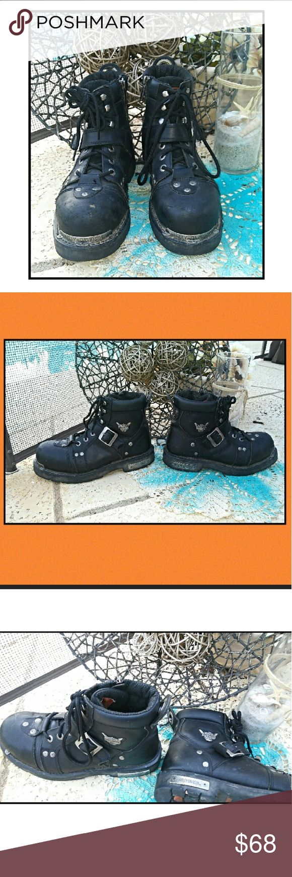"""Harley Davidson Brake Buckle Motorcycle Boots Harley Davidson Brake Buckle Motorcycle Boots. Mens 6"""" Black Leather. Great condition and born to ride. Make us an offer or hit buy now. Rock'N Ship is a Top 10% Seller on Poshmark. We add new items daily. Please like or share Harley-Davidson Shoes Boots"""