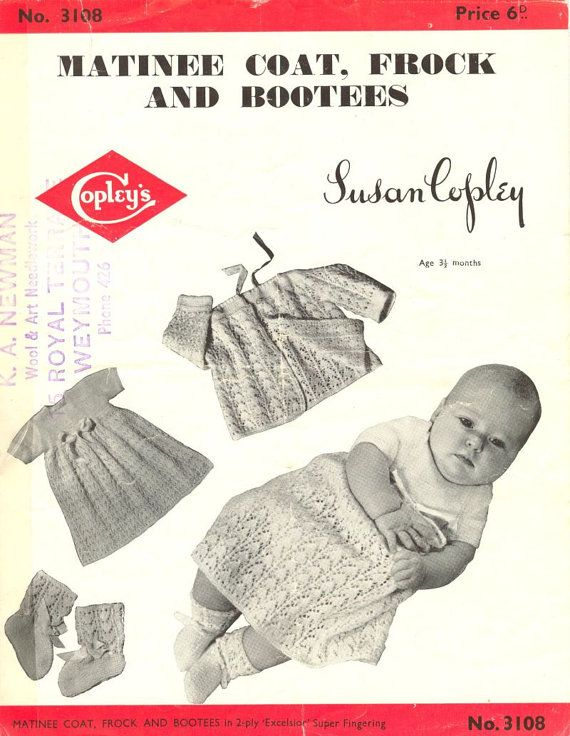 Copley 3108 baby matinee coat and dress set by Ellisadine on Etsy, £1.00