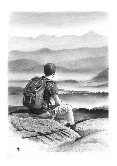 Bleistiftzeichnung Wanderer Sommer 1 DIN A4 von Josef Hinterseer