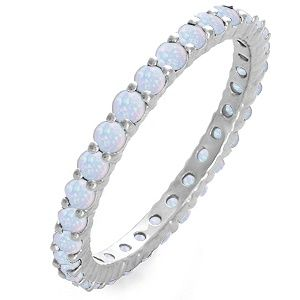 Jared - Lab-Created Opal Stackable Eternity Band White Gold