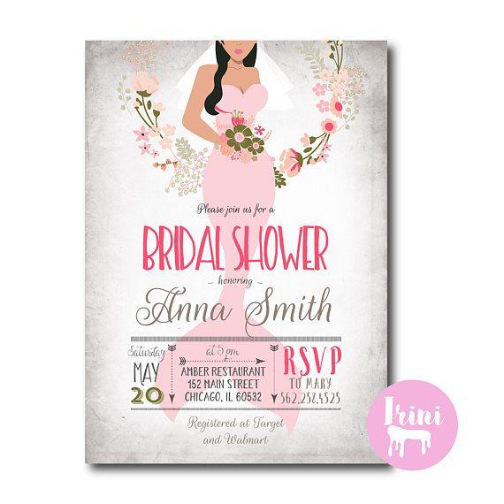 mermaid pink coral bridal  Mermaid Bridal Shower Invitation