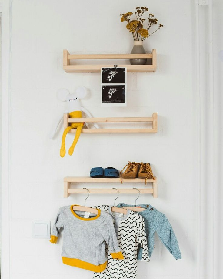 I love this little corner in the nursery. The racks from Ikea fit perfectly. It's also very affordable.