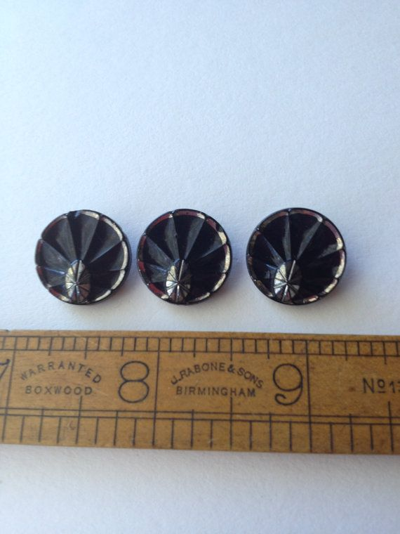 Set of 3 Very Old Czech Republic Black Silver Glass buttons