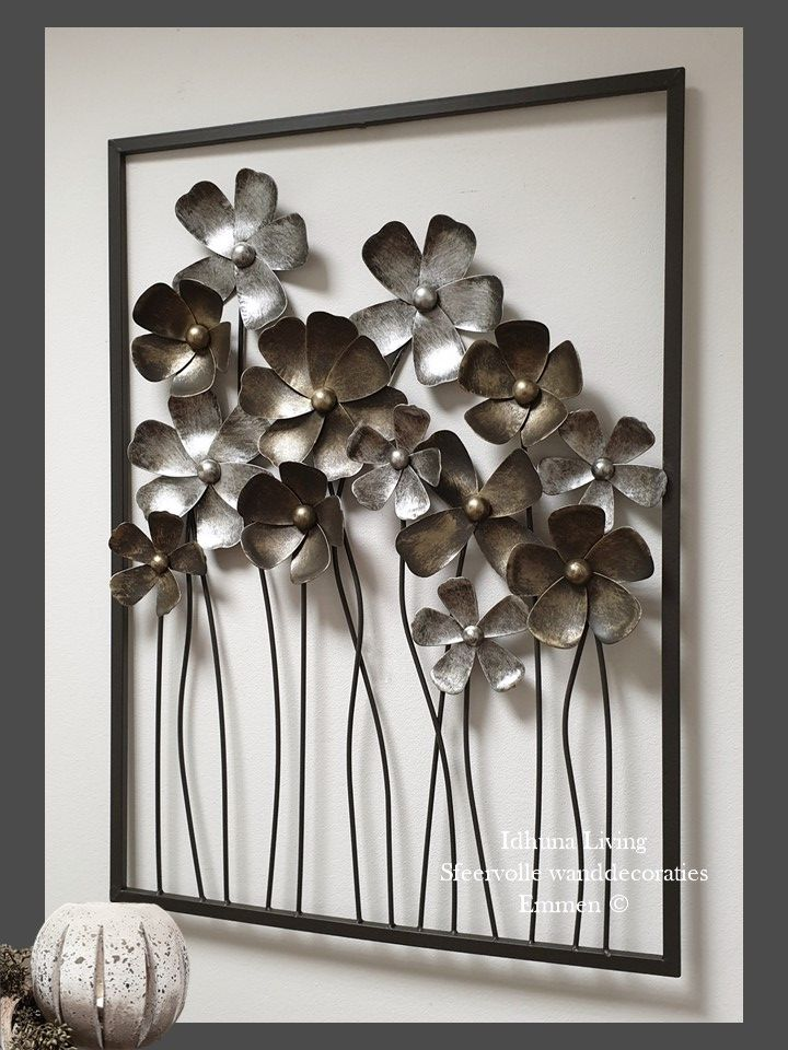 Metalen Wanddecoratie Bloemen Gold Silver 58 X 81 Xm Metalen Bloemen Thuisdecoratie Metaal