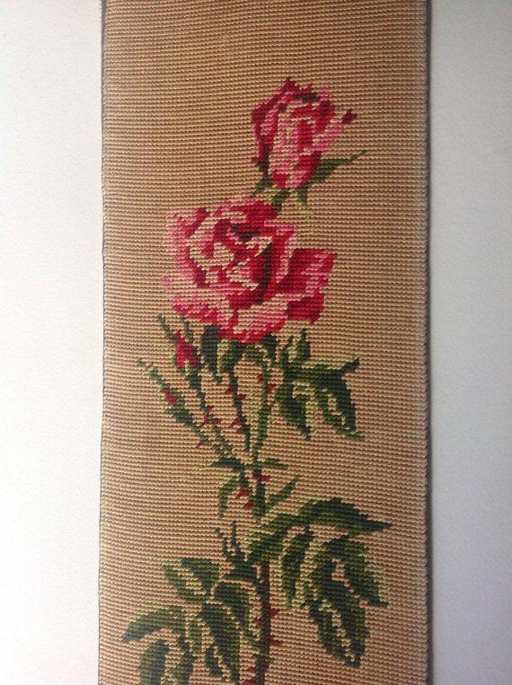 R Vintage Floral roses tapestry canvas 1970