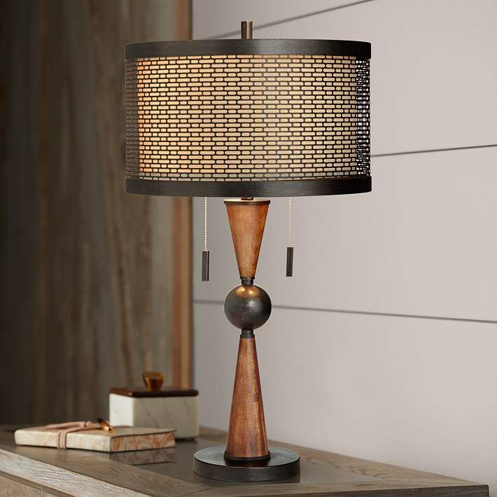 Hunter Bronze And Cherry Wood Table Lamp 20r05 Lamps Plus Table Lamp Wood Mid Century Modern Table Lamps Contemporary Table Lamps
