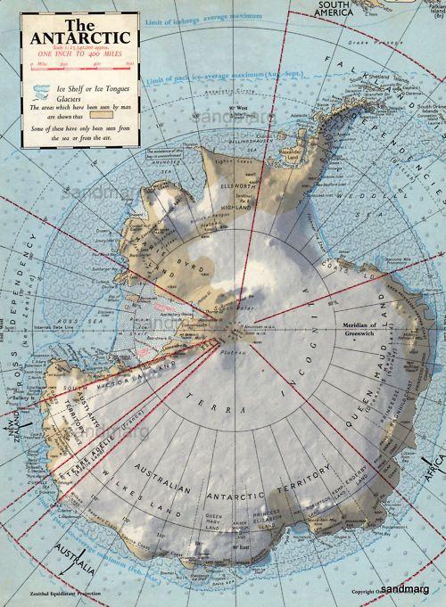 Mapa de 1957 del Antártico