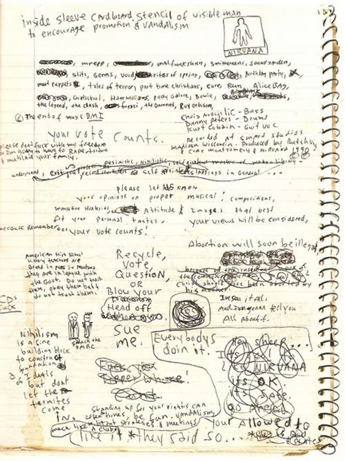 A page from one of Kurt Cobain's journals