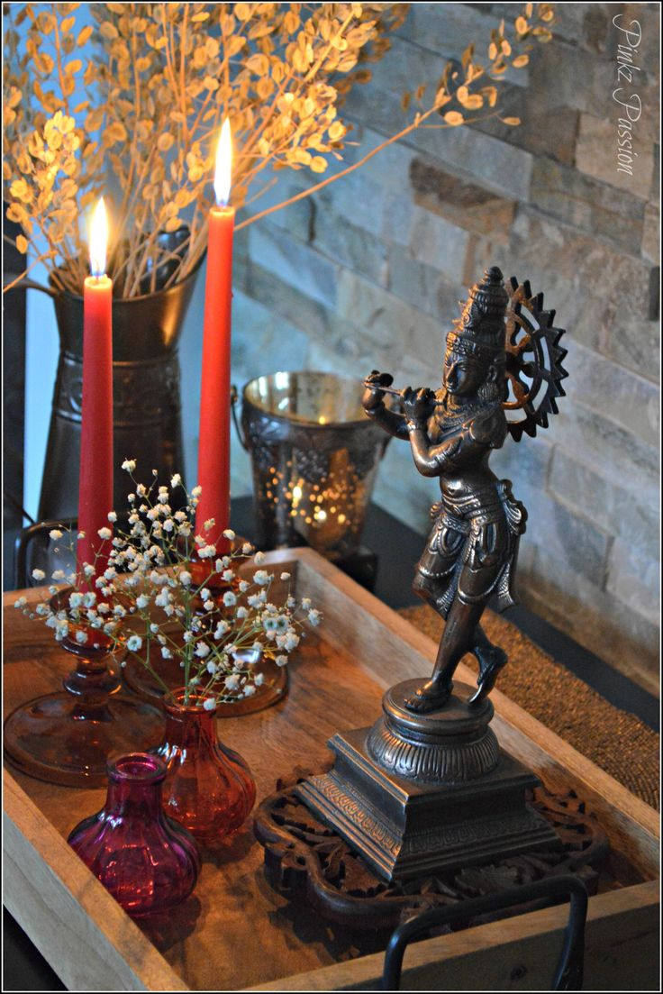 Indian decor, interior styling, home decor, Indian home decor, global decor, candle lit corners, home decor vignettes, krishna statue