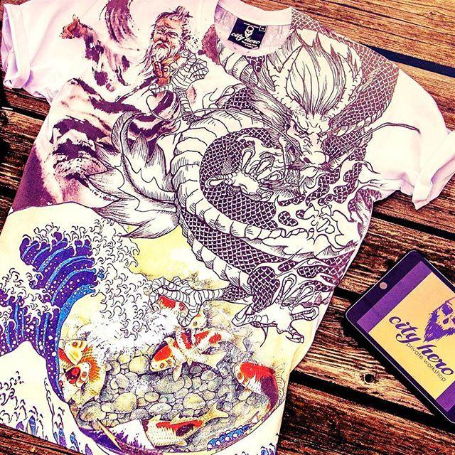 asia dragon hokusai koi carps