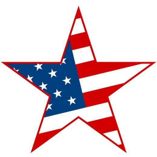 American flag star. Th of july