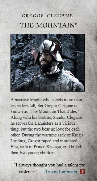 "Gregor Clegane ""The Mountain that Rides"" character bio. Played by Ian Whyte."