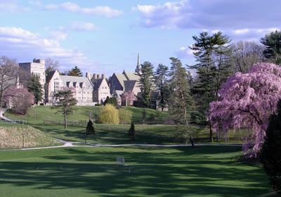 The old alma mater, Bryn Mawr College in PA >> Rhoades Beach!! You can see my senior room in this shot!