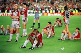 Man Utd 2 Bayern Munich 1 in May 1999 in Barcelona. Players of Bayern Munich look gutted after conceding 2 goals in injury time in the Champions League Final.