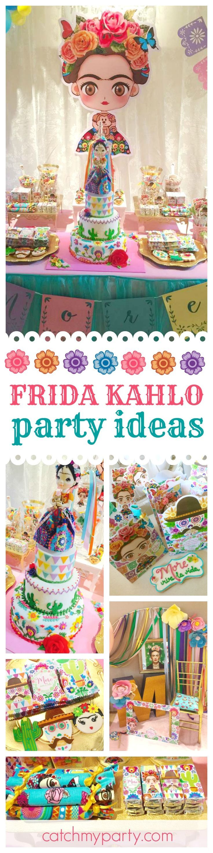 Don't miss this colorful & vibrant Frida Kahlo Mexican birthday party! The birthday cake is amazing!! See more party ideas and share yours at http://CatchMyParty.com