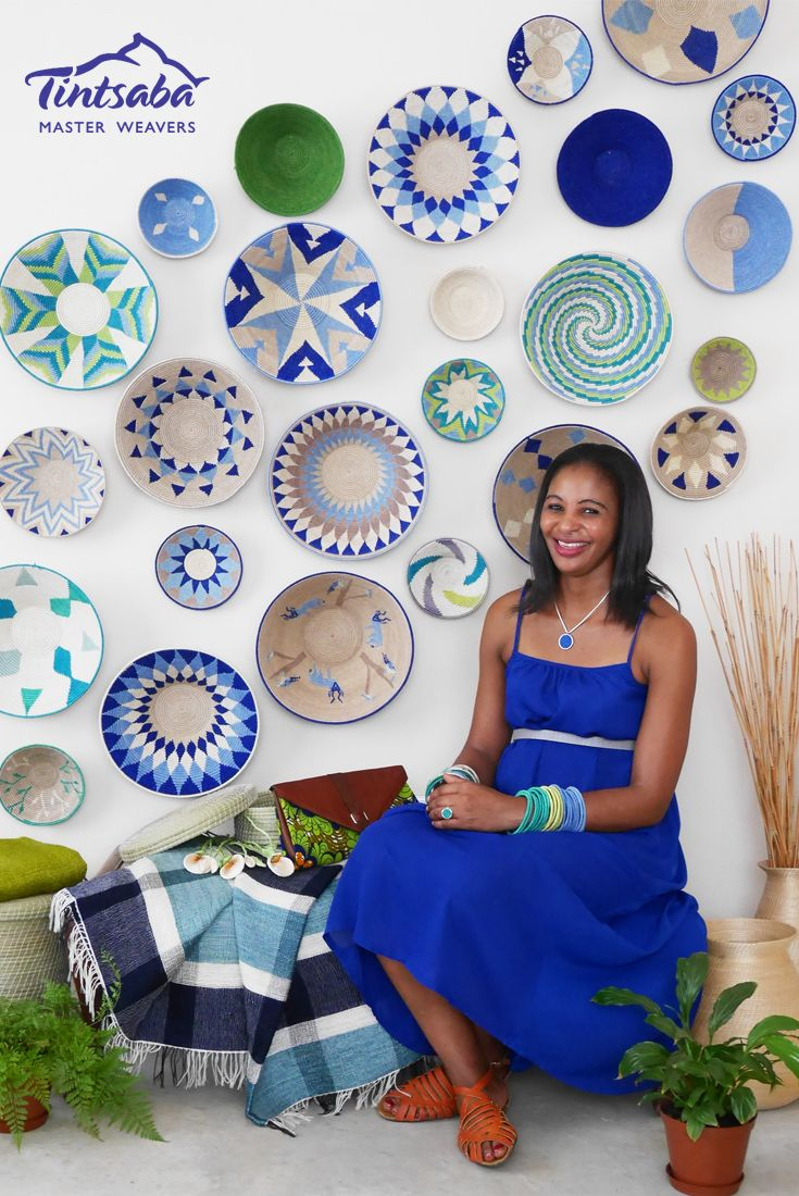 Our model with Tintsaba jewellery and basket display in Earth colour way. All handmade by Tintsaba in Swaziland. www.tintsaba.com