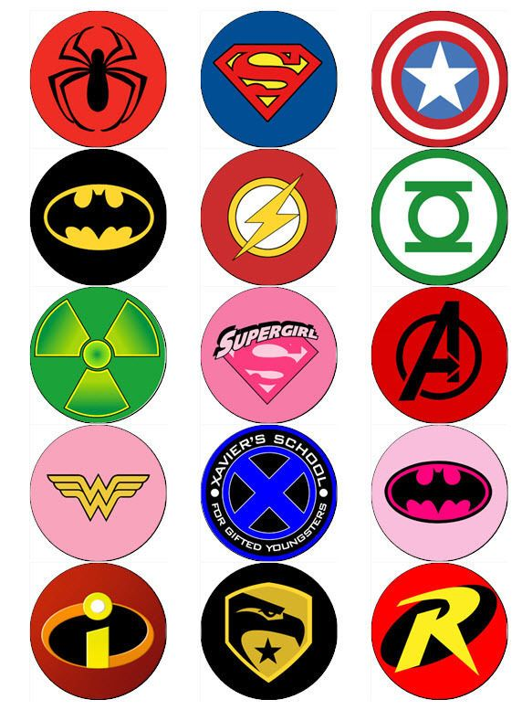SUPERHERO LOGO V2 EDIBLE WAFER PAPER OR ICING SHEET TOPPERS CUPCAKE                                                                                                                                                                                 More