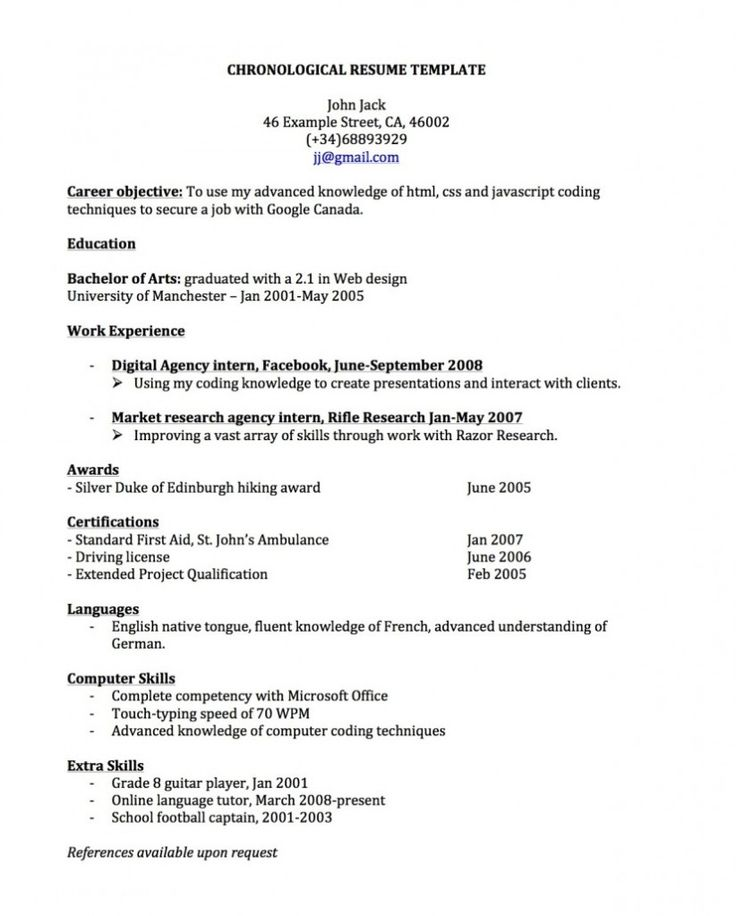 professional resume example free chronological templates eberdvrlistscom