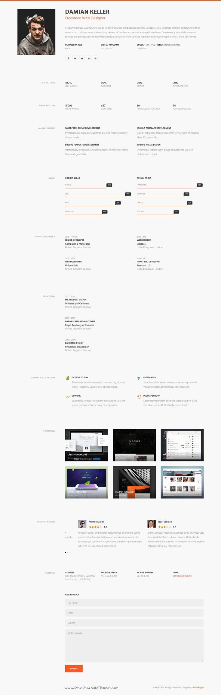 Myprofile is clean well designed premium bootstrap