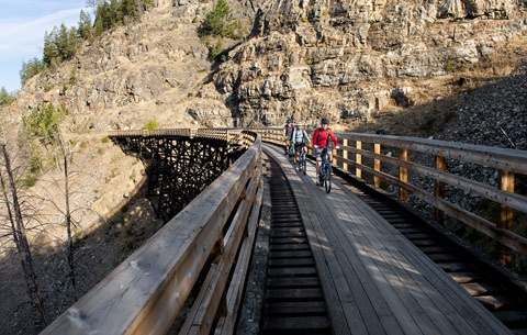 Kettle valley railway bike ride also steam engines. Several hours east of Vancouver. Beautiful winery area also