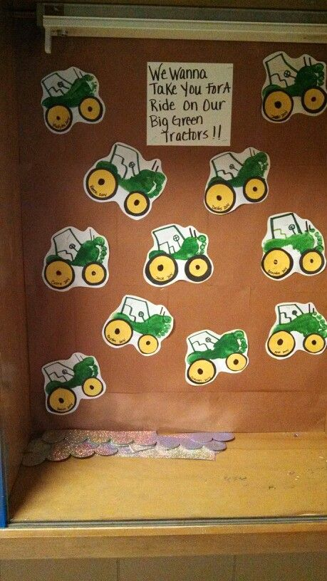We wanna take you on a ride on a big green tractor!!  Used with footprint tractors for Farm Week :)